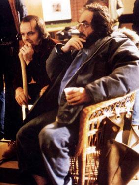 استنلی كوبریك و جک نیکلسن سر صحنهی «تلألو»
