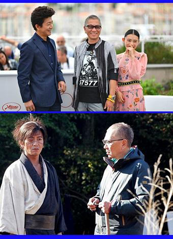 تاکاشی میکه با بازیگران «شمشیرهای ابدی» در جشنوارهی کن، و سر صحنهی فیلم